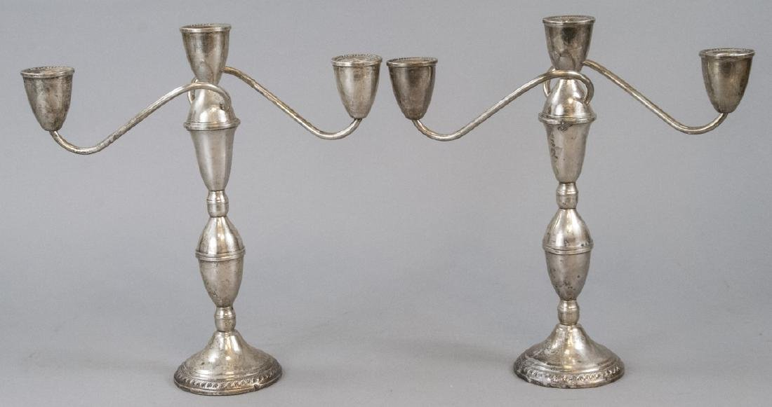 Pair Sterling Silver Three Arm Candelabras