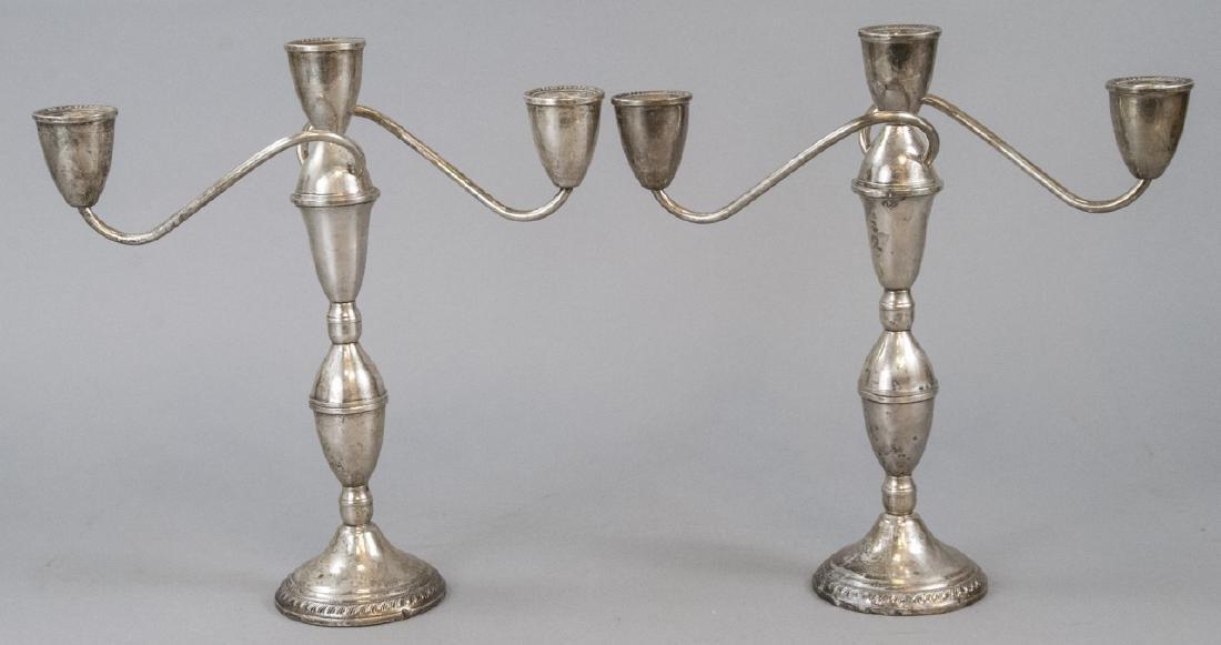 Pair Sterling Silver Three Arm Candelabras