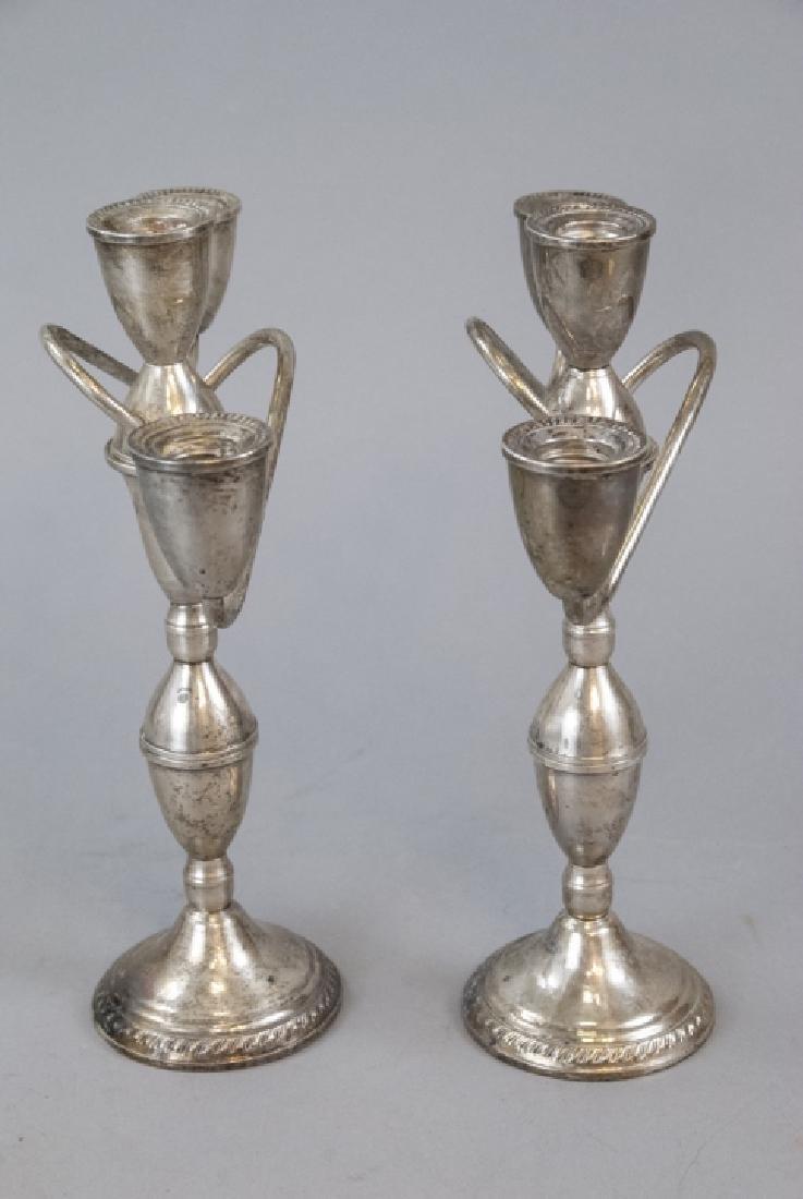 Pair Sterling Silver Three Arm Candelabras - 6