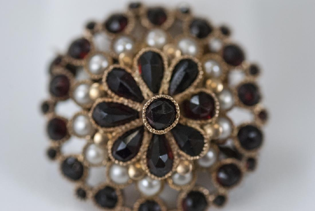 Estate 14kt Yellow Gold Seed Pearl & Garnet Brooch - 2