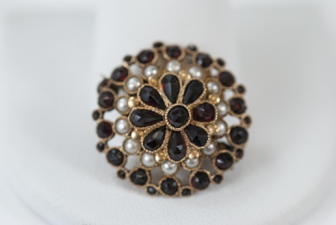Estate 14kt Yellow Gold Seed Pearl & Garnet Brooch - 4
