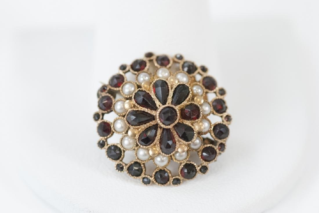Estate 14kt Yellow Gold Seed Pearl & Garnet Brooch - 5