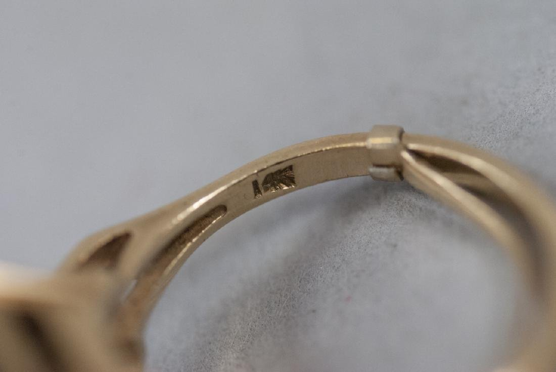 Estate Art Deco 14kt Yellow Gold Cocktail Ring - 2