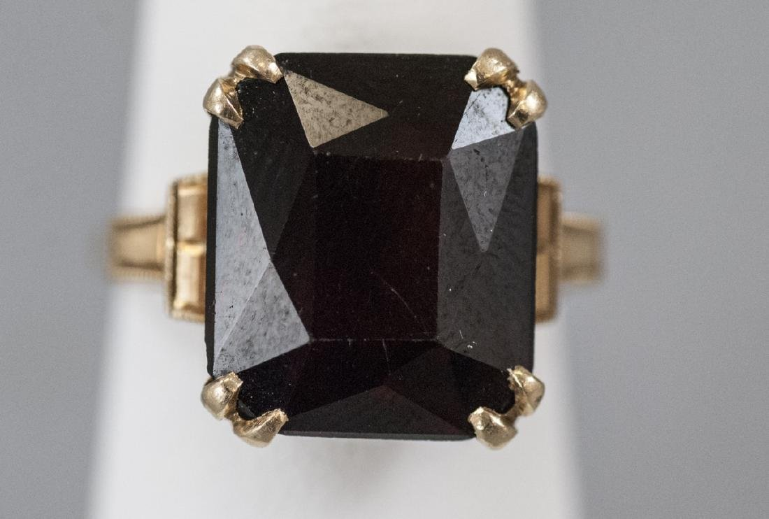 Estate Art Deco 14kt Yellow Gold Cocktail Ring - 4