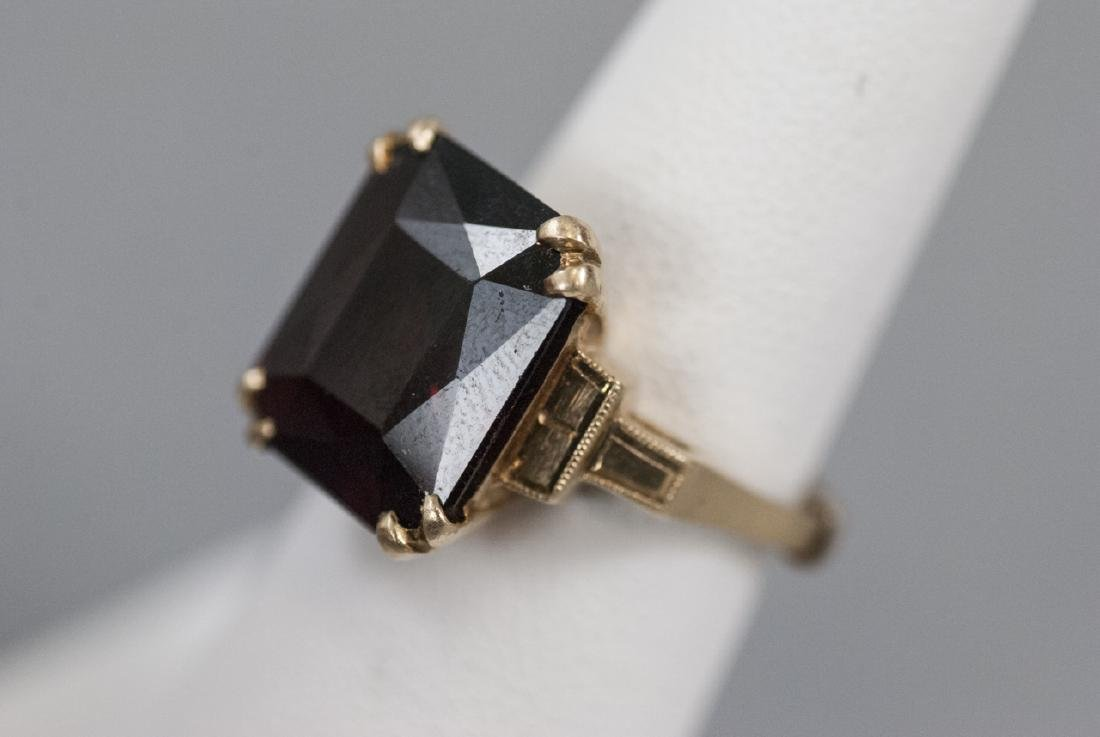 Estate Art Deco 14kt Yellow Gold Cocktail Ring - 7
