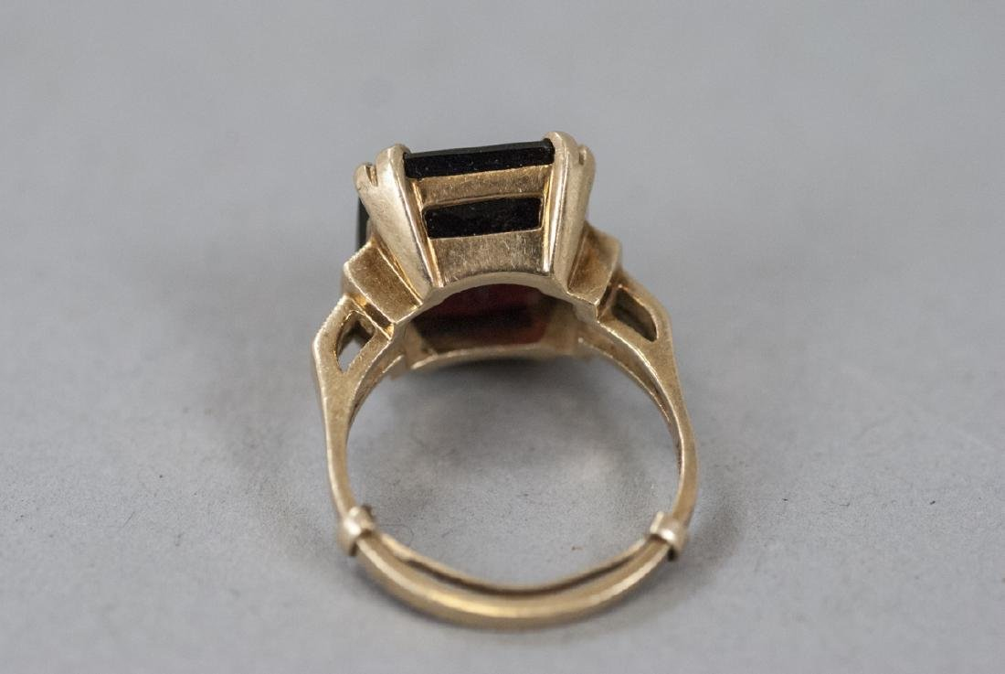 Estate Art Deco 14kt Yellow Gold Cocktail Ring - 9