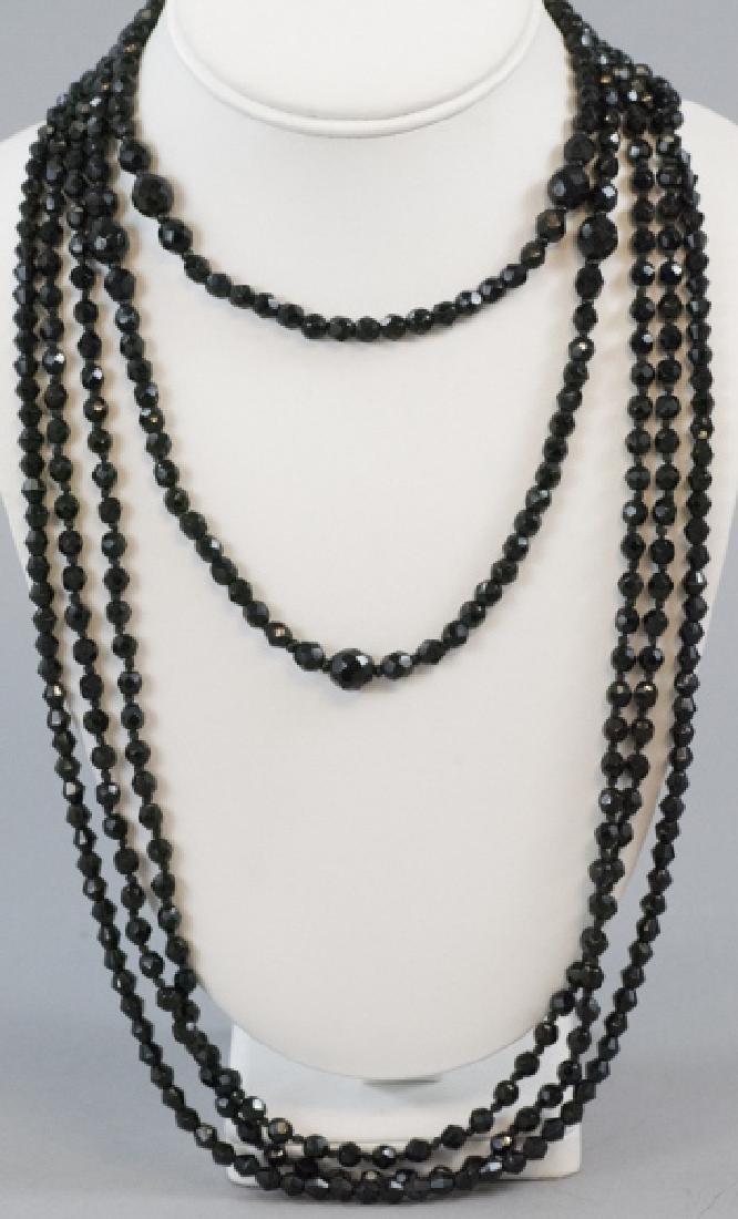 3 Antique Jet or Black Crystal Flapper Necklaces