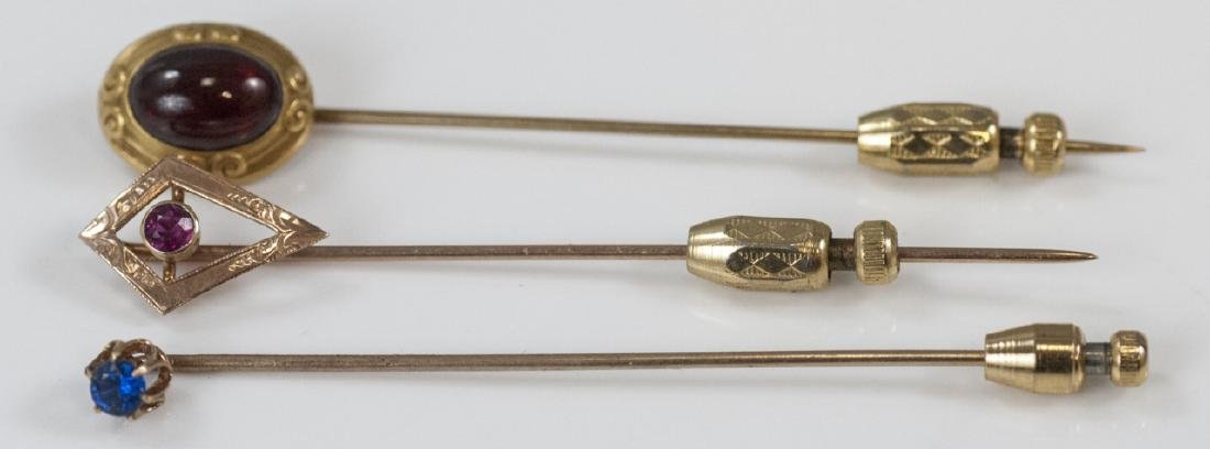 Three Antique Estate Gold & Gold Filled Stick Pins