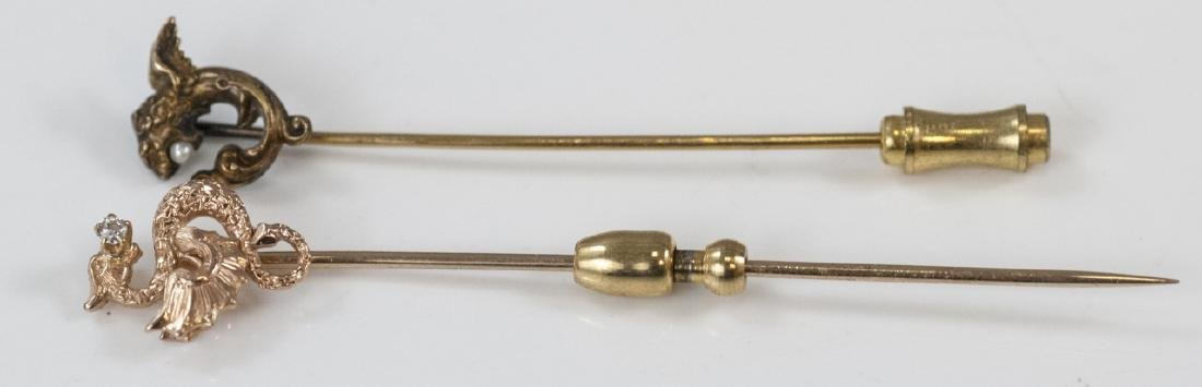 2 Antique Victorian 19th C Gold Dragon Stick Pins