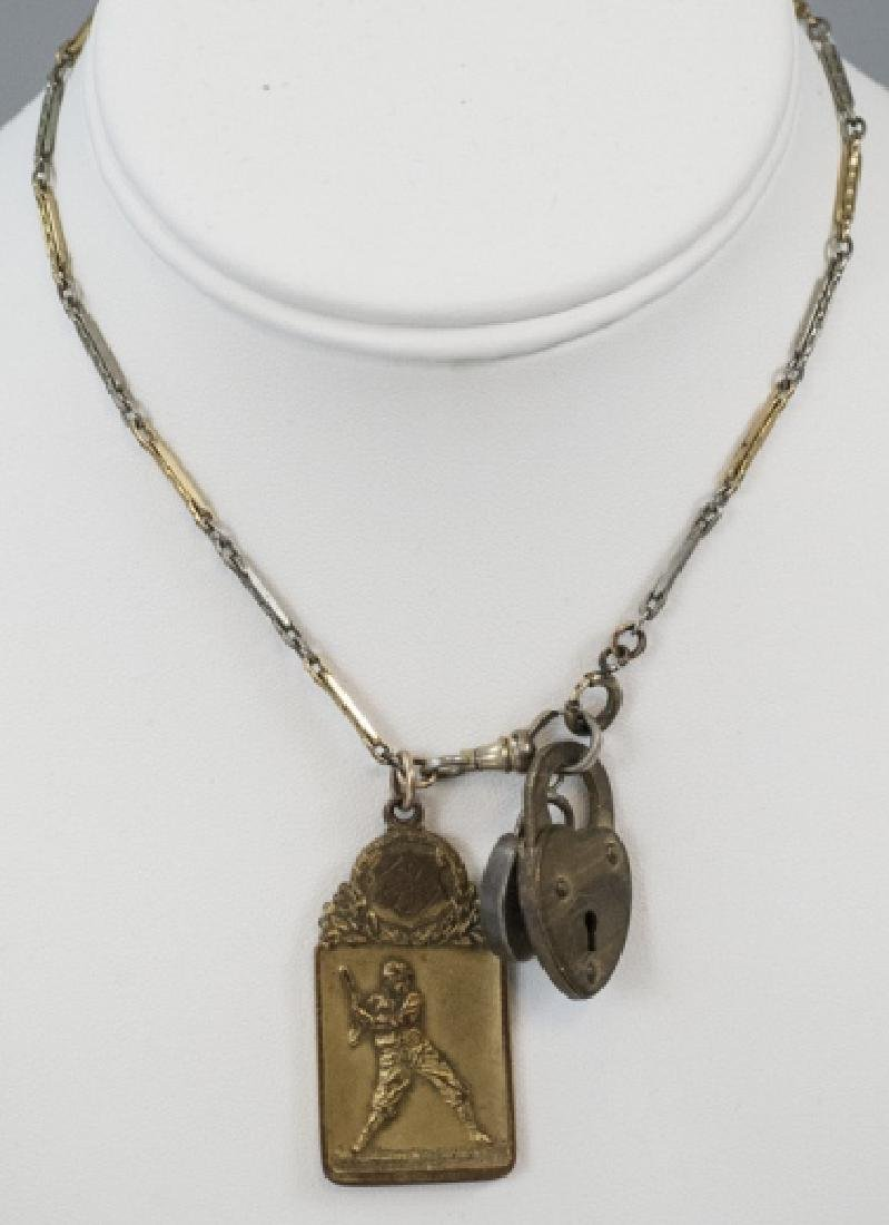 Antique Watch Fob Chain w Heart Locks & Charm