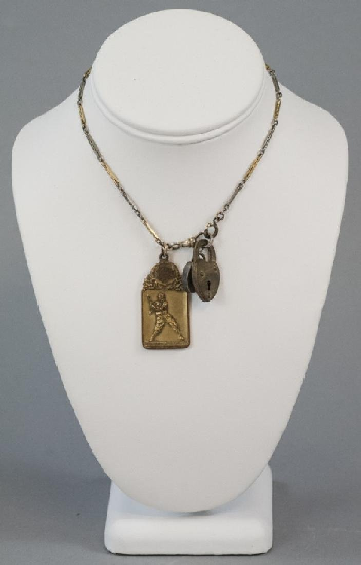 Antique Watch Fob Chain w Heart Locks & Charm - 2