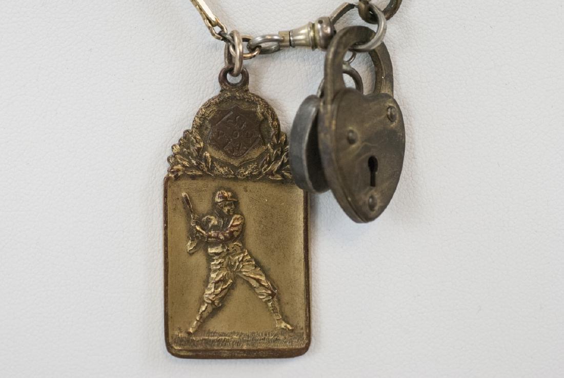Antique Watch Fob Chain w Heart Locks & Charm - 3