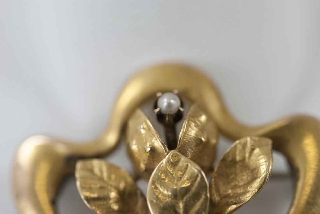 Antique Art Nouveau 14kt Yellow Gold Brooch - 2