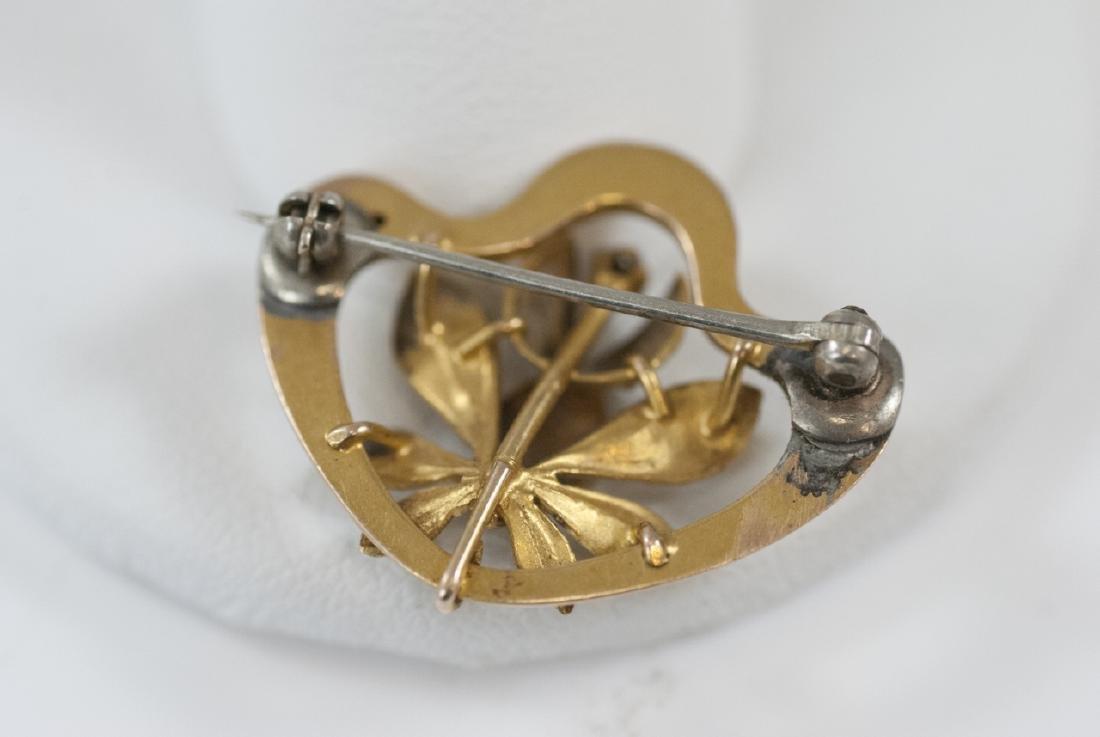 Antique Art Nouveau 14kt Yellow Gold Brooch - 3