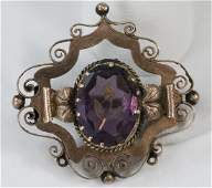 Antique Victorian 14kt Yellow Gold Amethyst Brooch