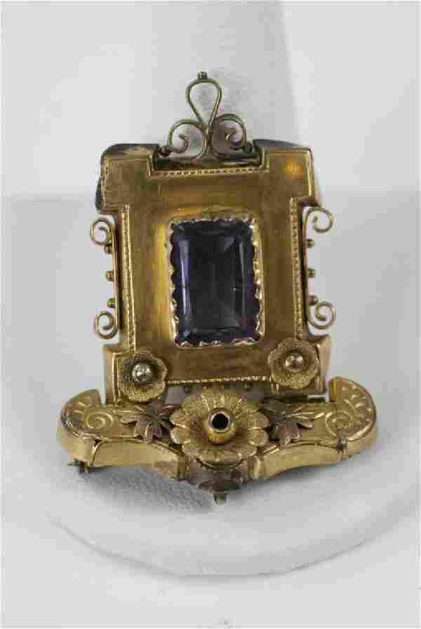 Antique Victorian Yellow Gold & Amethyst Pendant