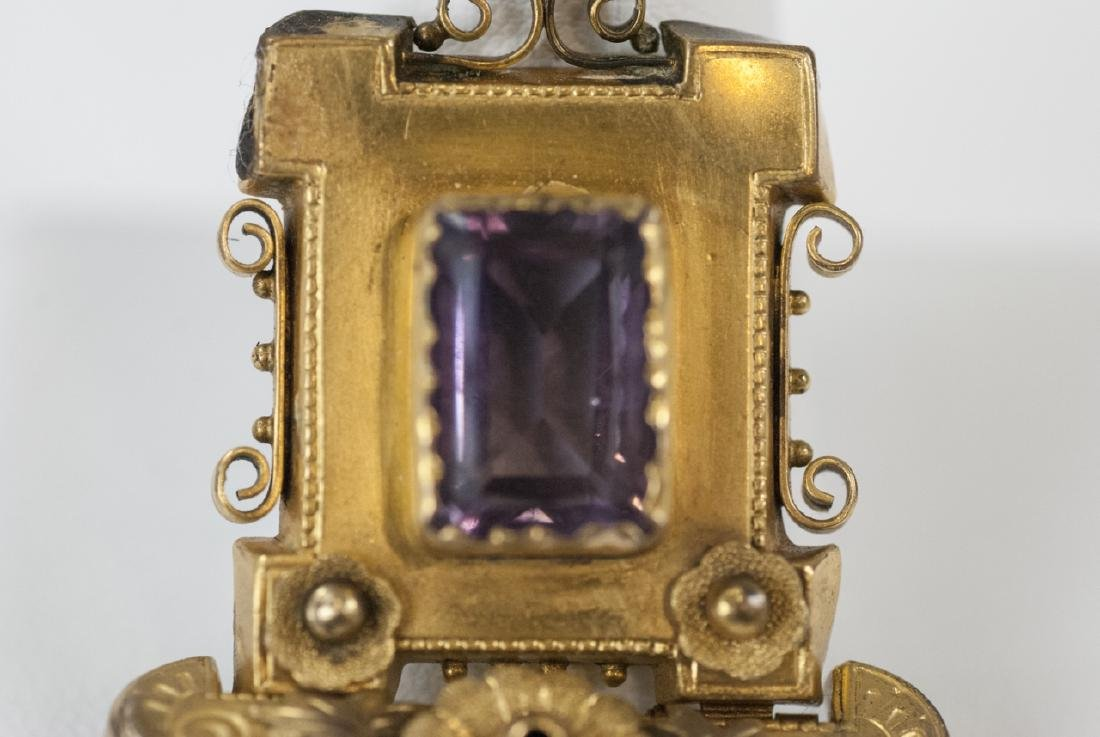 Antique Victorian Yellow Gold & Amethyst Pendant - 2