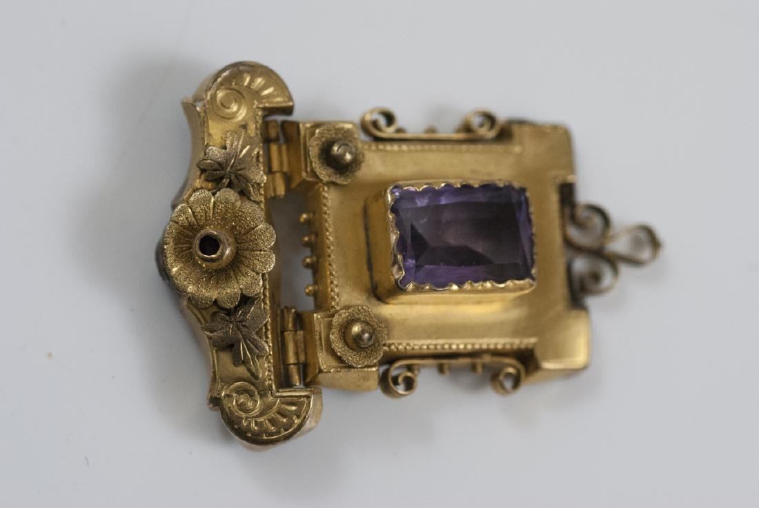 Antique Victorian Yellow Gold & Amethyst Pendant - 6