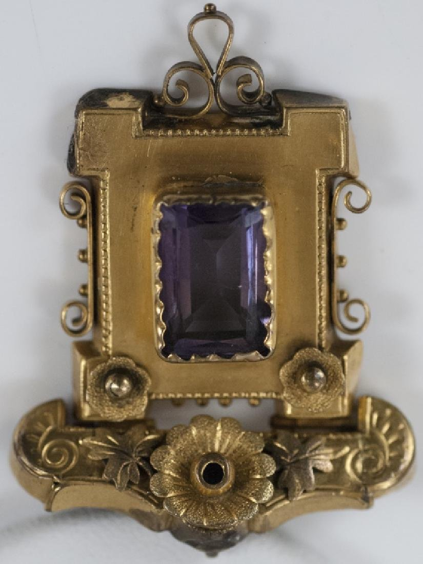 Antique Victorian Yellow Gold & Amethyst Pendant - 7