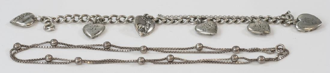 Vintage Sterling Heart Charm Bracelet & Necklace