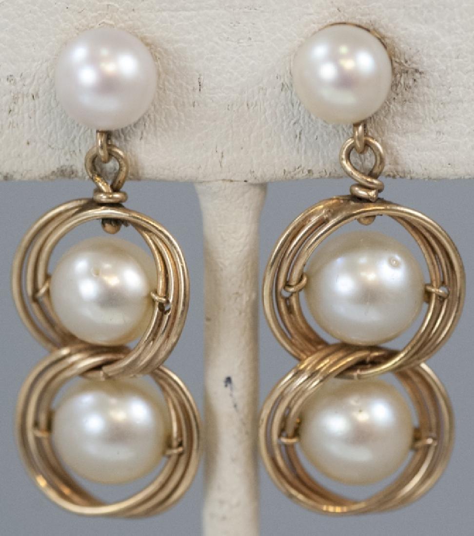 Estate 14kt Yellow Gold & Pearl Earrings