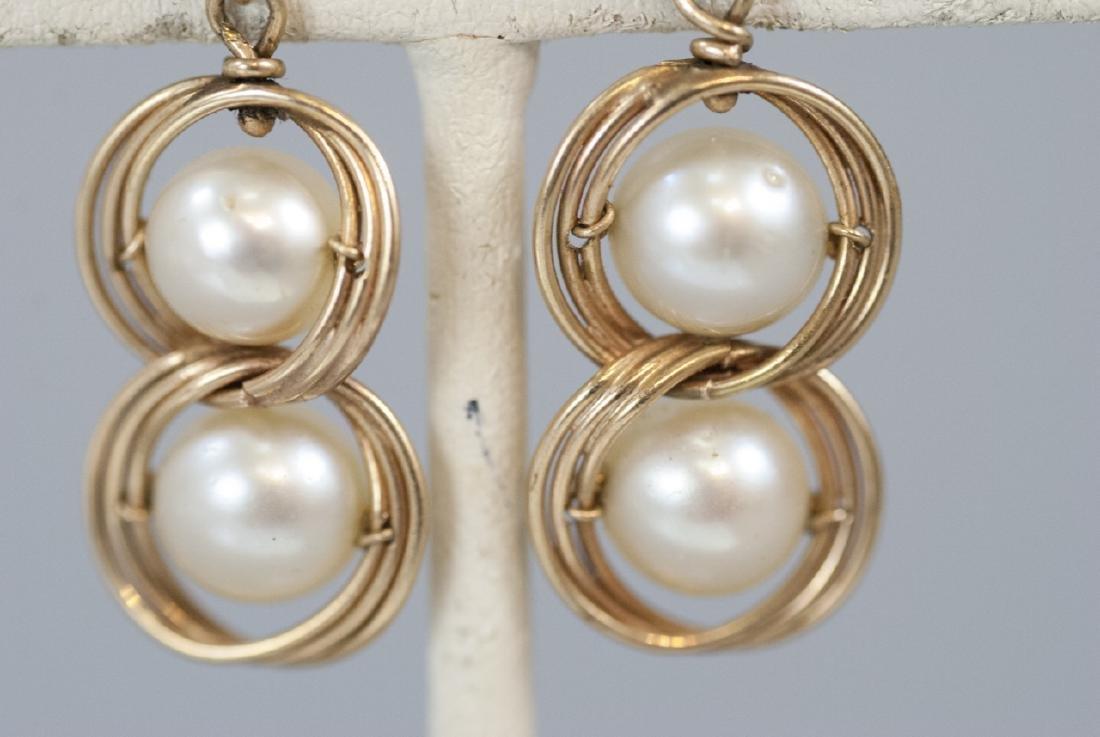 Estate 14kt Yellow Gold & Pearl Earrings - 2