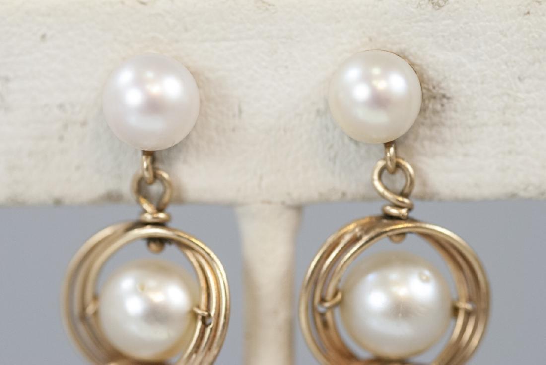 Estate 14kt Yellow Gold & Pearl Earrings - 3