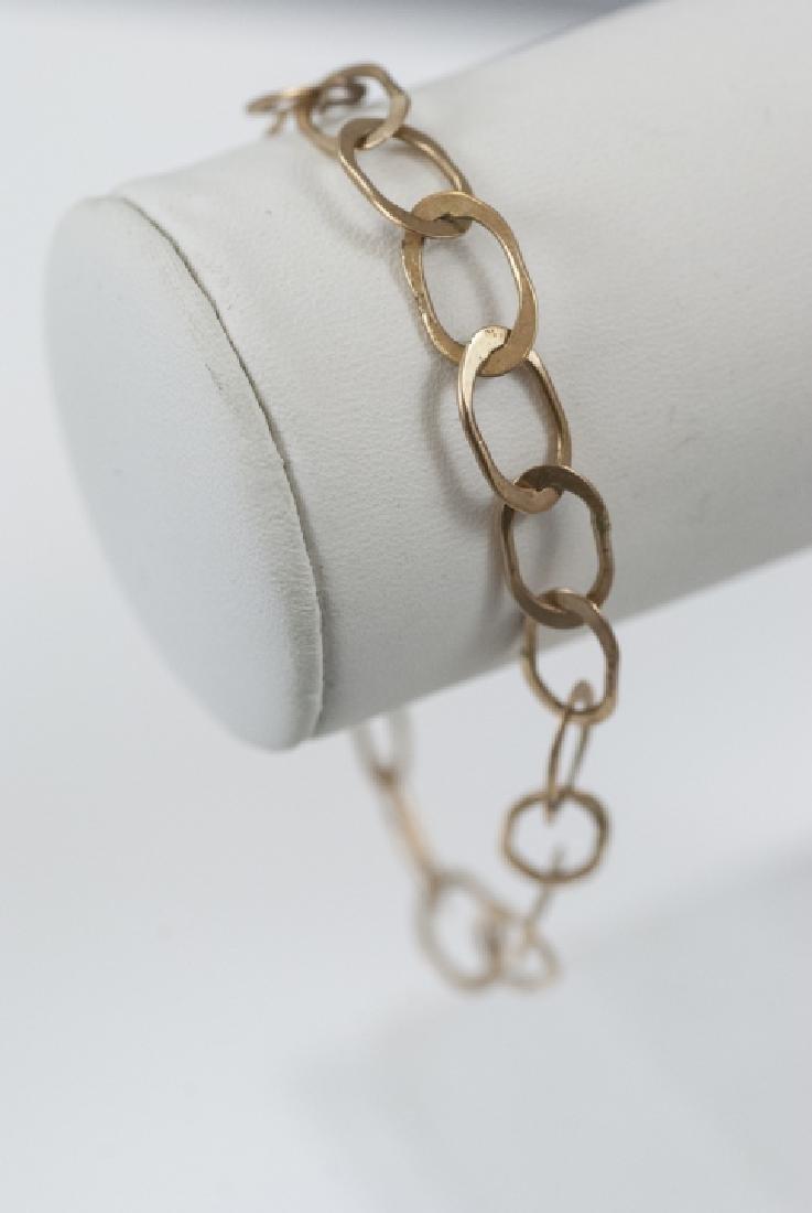 Estate Retro Style 14kt Gold Link Bracelet - 3
