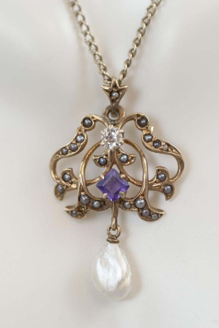 Antique 14kt Diamond Amethyst Pearl Necklace