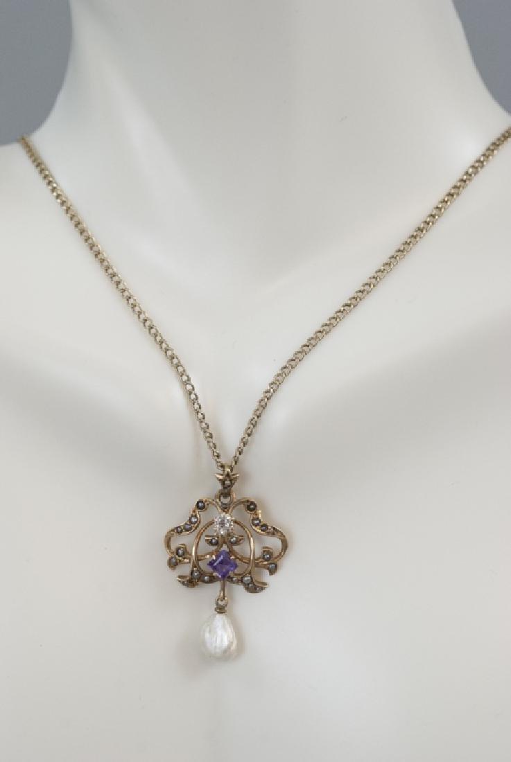 Antique 14kt Diamond Amethyst Pearl Necklace - 2