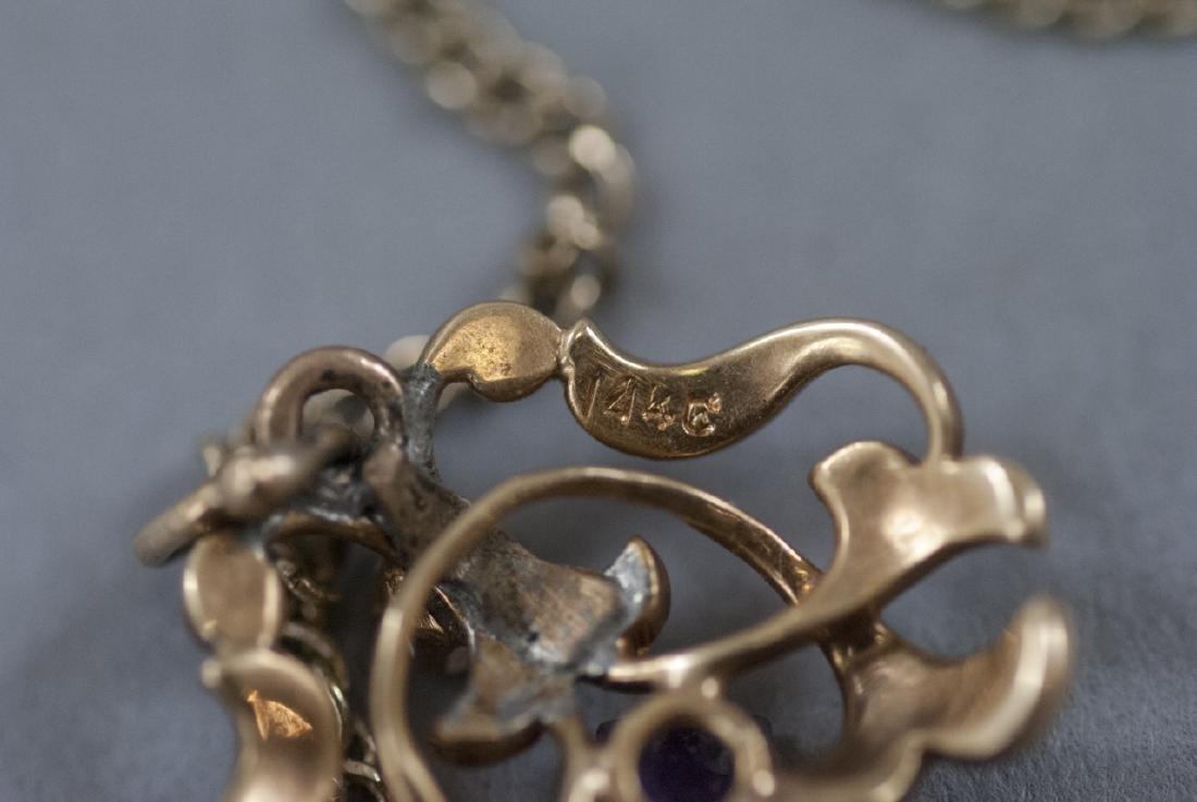 Antique 14kt Diamond Amethyst Pearl Necklace - 3
