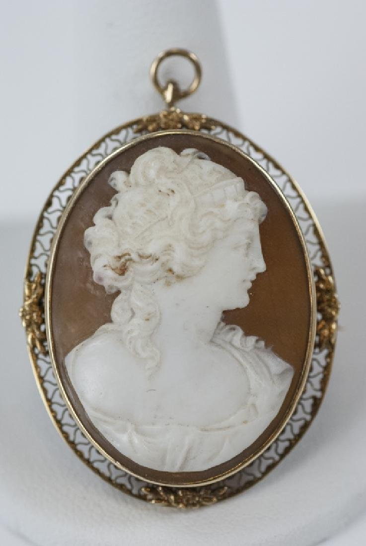 Estate Natural Shell Cameo Pendant or Brooch