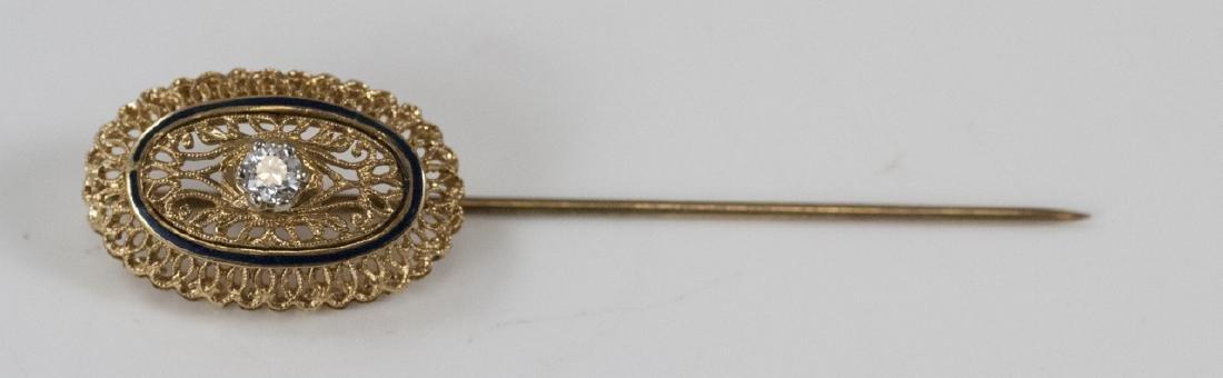 Estate 18kt Yellow Gold Enamel & Diamond Pin