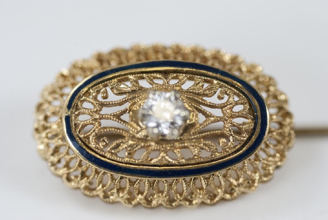 Estate 18kt Yellow Gold Enamel & Diamond Pin - 2