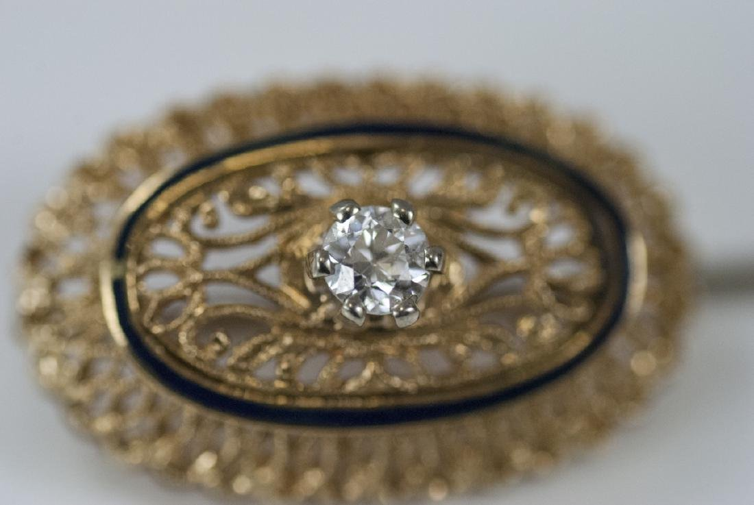 Estate 18kt Yellow Gold Enamel & Diamond Pin - 5