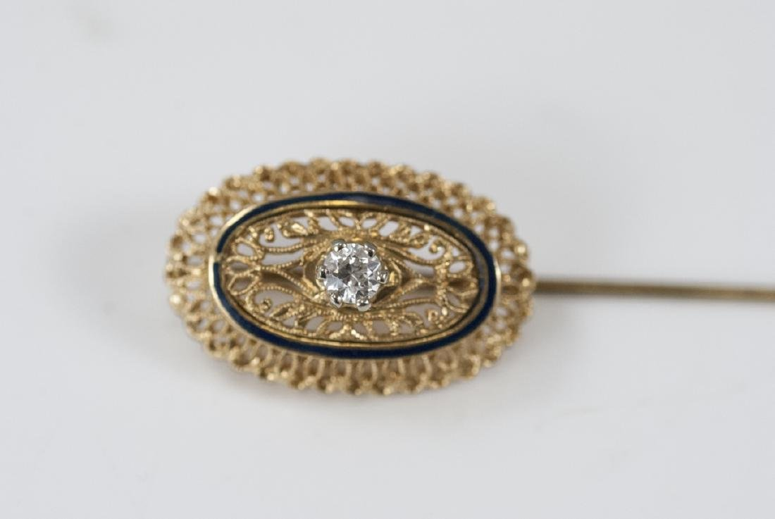 Estate 18kt Yellow Gold Enamel & Diamond Pin - 8
