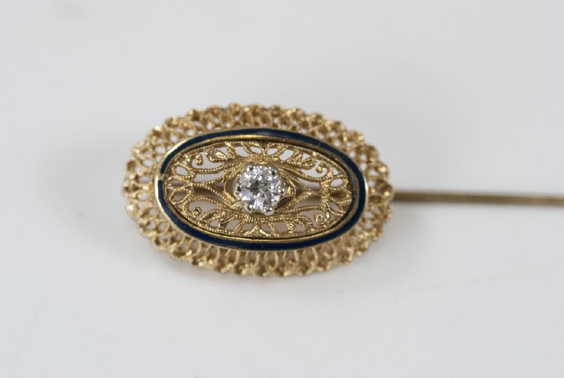 Estate 18kt Yellow Gold Enamel & Diamond Pin - 9