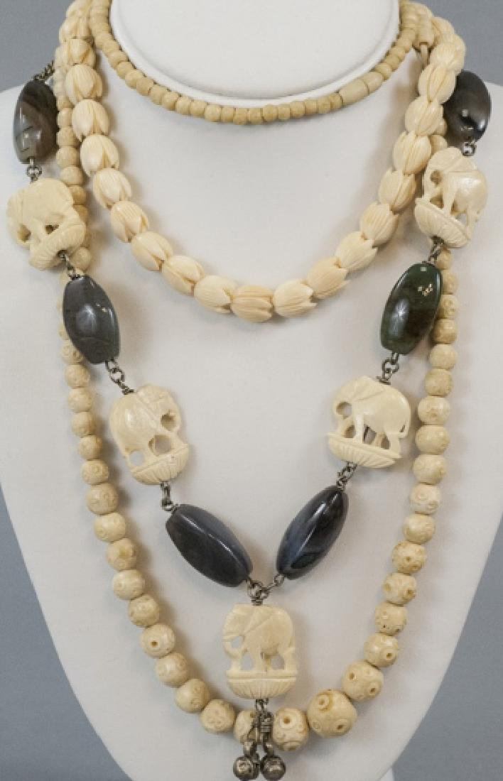 Three Estate Hand Carved Bone Asian Necklaces