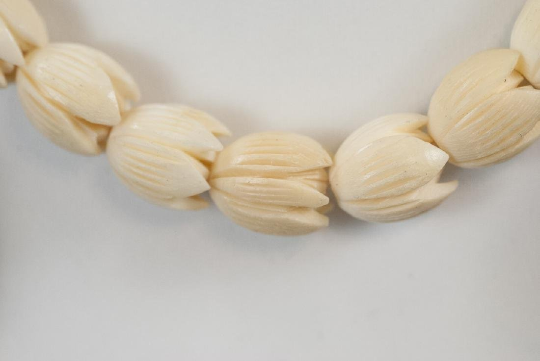 Three Estate Hand Carved Bone Asian Necklaces - 2