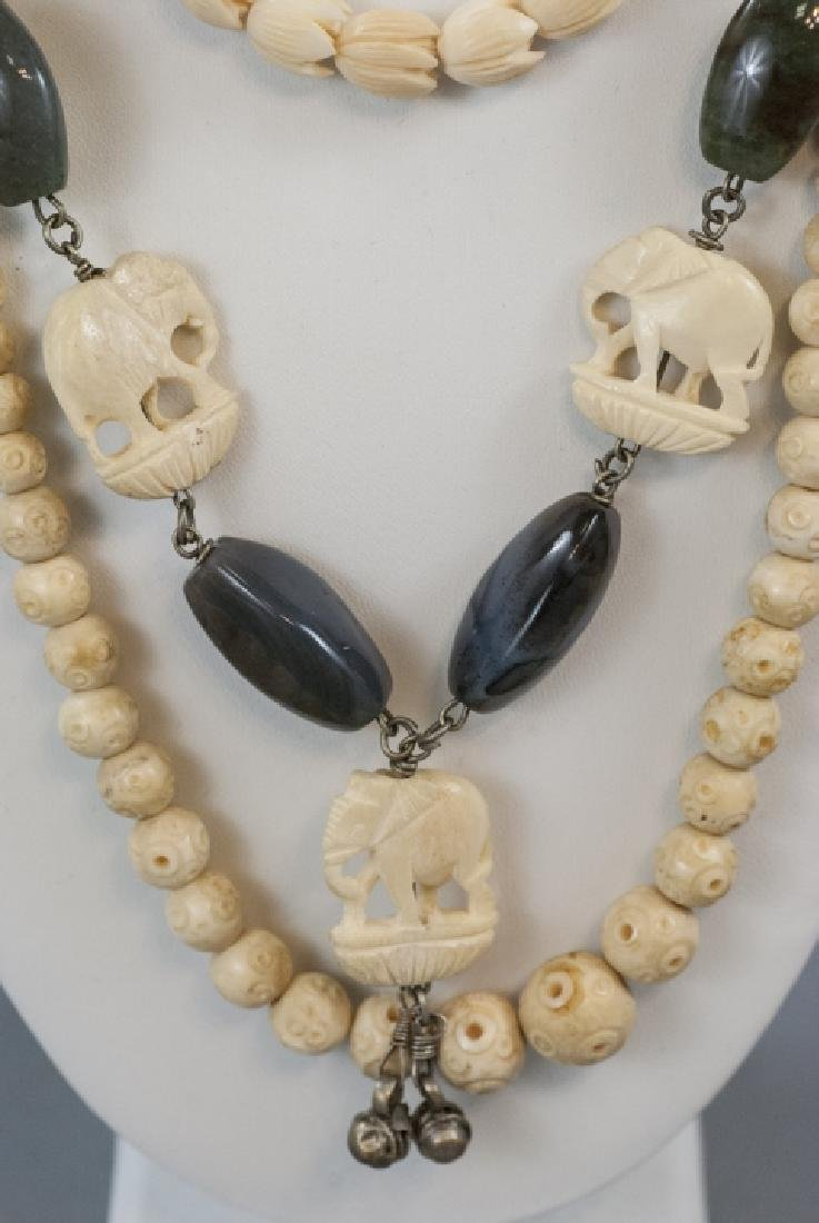 Three Estate Hand Carved Bone Asian Necklaces - 3