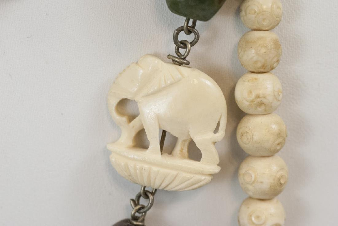Three Estate Hand Carved Bone Asian Necklaces - 4