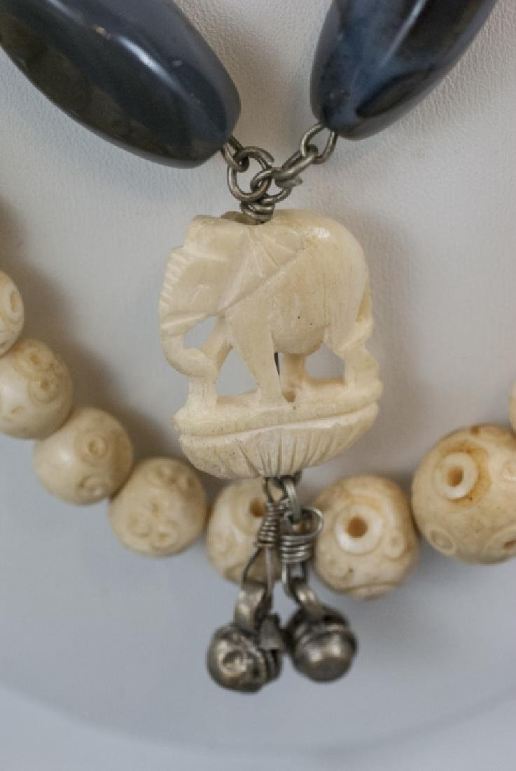 Three Estate Hand Carved Bone Asian Necklaces - 6