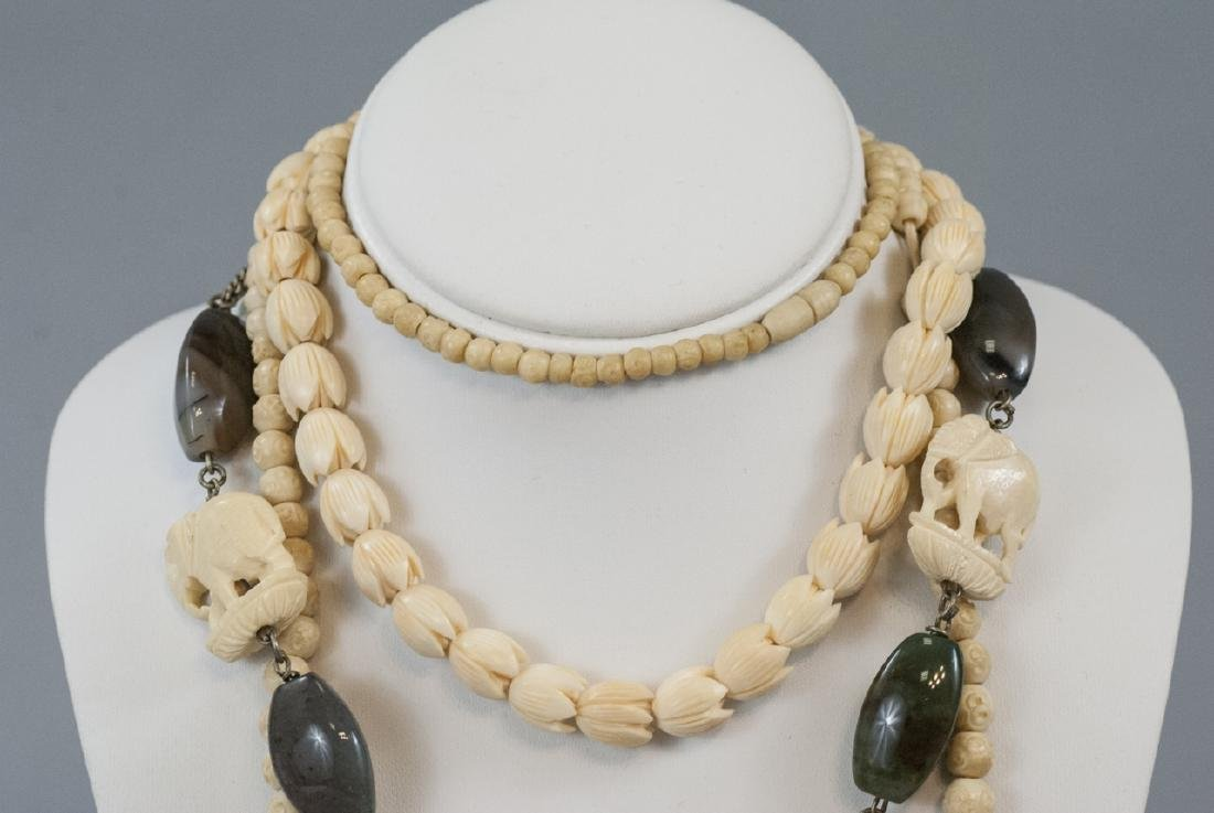 Three Estate Hand Carved Bone Asian Necklaces - 8