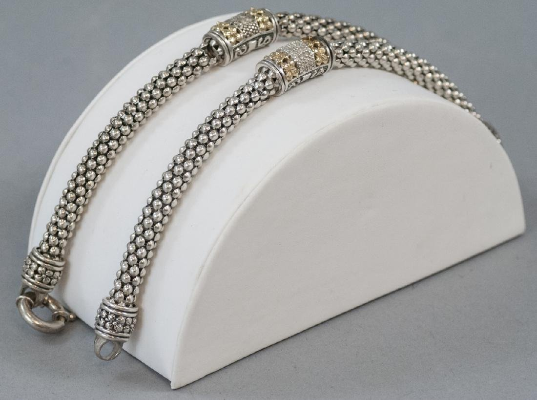 Two Sterling Silver & 14kt Gold Diamond Bracelets