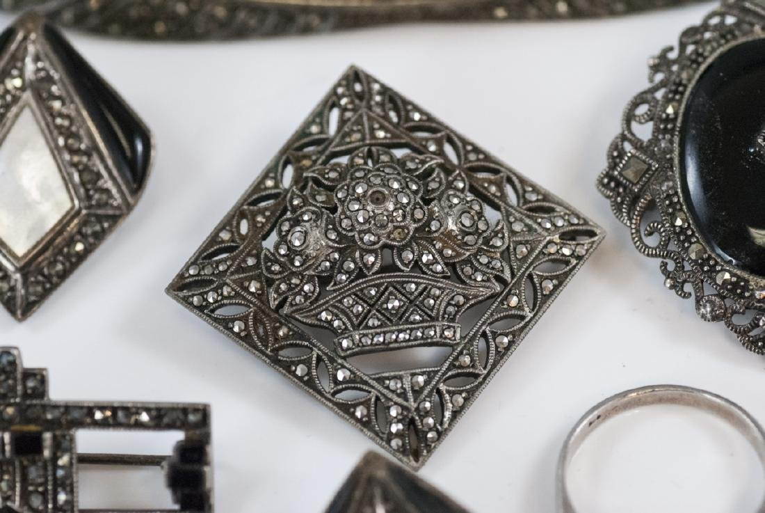 Antique & Vintage Sterling & Marcasite Jewelry - 5