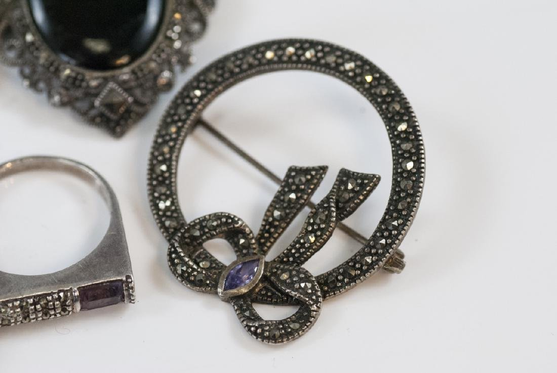 Antique & Vintage Sterling & Marcasite Jewelry - 8