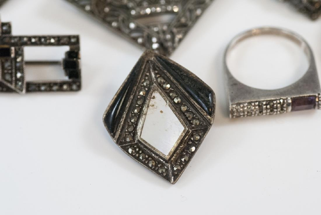 Antique & Vintage Sterling & Marcasite Jewelry - 9