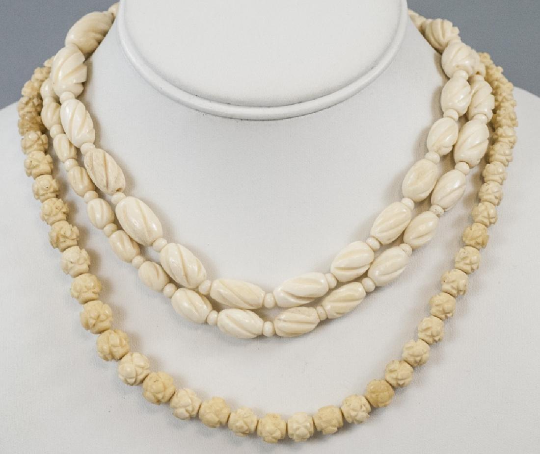 Estate Flapper Style Carved Bone Necklace Strands