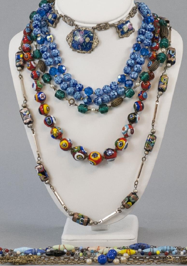Six Vintage Art Glass & Murano Necklace Strands
