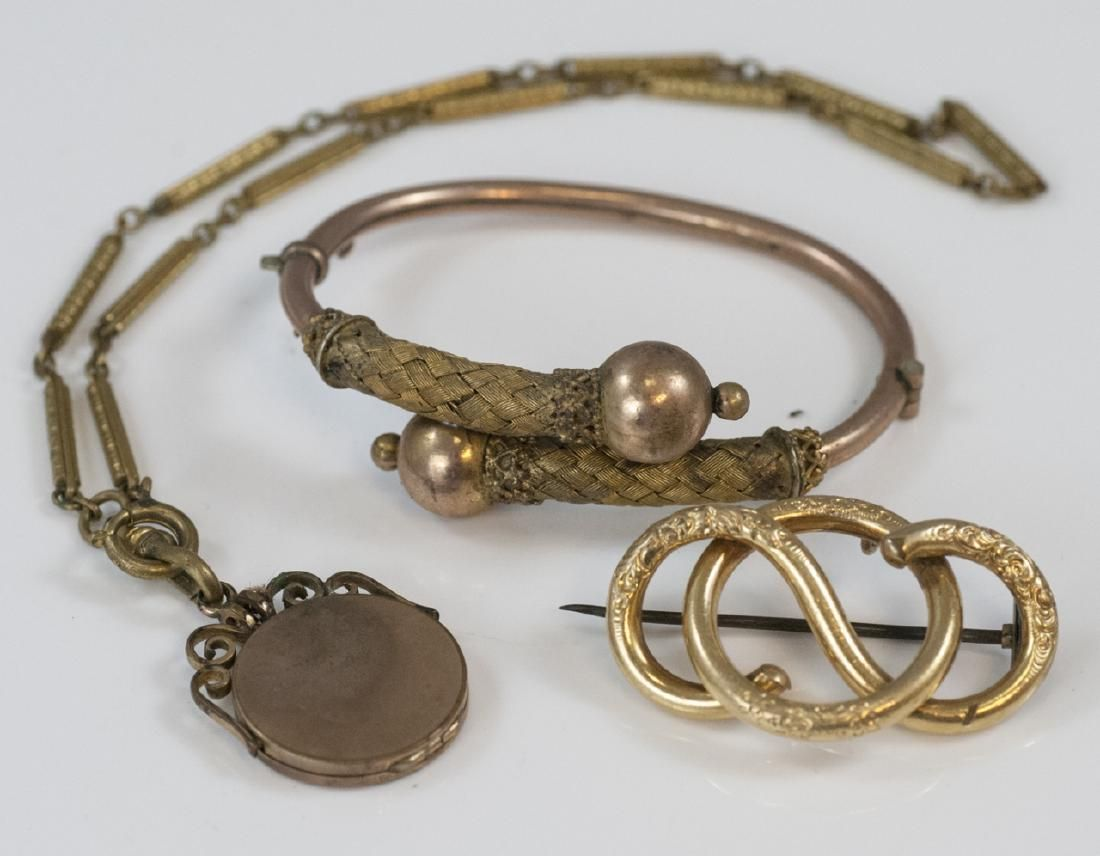 Antique 19th C Victorian Gold Filled Jewelry Group
